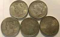 1922 LIBERTY PEACE SILVER DOLLAR COINS SET OF 5 SILVER COINS