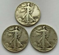 LOT OF 3 WALKING LIBERTY 1942,1943 AND 1945 S SILVER HALF DOLLAR COINS