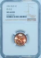 1951 D/S NGC MINT STATE 66RD RED FS-512 OMM OVER MINT MARK LINCOLN WHEAT CENT