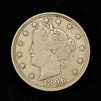 1896 5C LIBERTY HEAD V NICKEL VF COIN BETTER DATE LOTY662