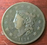 1834 U.S. LARGEG CENT. LARGE 8 AND STARS