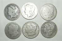 6 MORGAN DOLLARS 5 DIFFERENT DATES  INCL. 1894 O, 1899 O, 1921 S, 1885 S