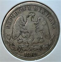 1869 GO S MEXICAN SILVER 50 CENTAVOS COIN DIFFICULT DATE TO