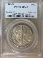 50C LIBERTY WALKING HALF 1941-S PCGS MINT STATE 62 OLD