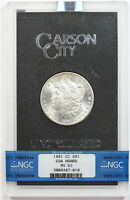 1881-CC MORGAN DOLLAR $1 MINT STATE 63 NGC GSA HOARD BOX AND COA