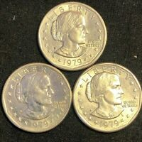 1979 SUSAN B. ANTHONY 3 SILVER DOLLARS   TWO WITH D MINT & O