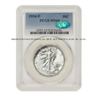 1934-D 50C WALKING LIBERTY PCGS MINT STATE 65 GEM CAC CERTIFIED SILVER HALF DOLLAR COIN
