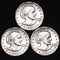 UNCIRCULATED 1981 1981 D 1981 S SUSAN B ANTHONY DOLLAR 3 COI