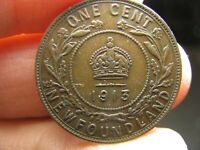 CANADA NEWFOUNDLAND LARGE 1 CENT 1913 COIN GEORGES V