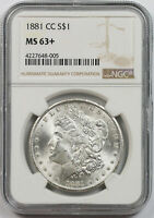 1881-CC MORGAN DOLLAR $1 MINT STATE 63 PLUS NGC