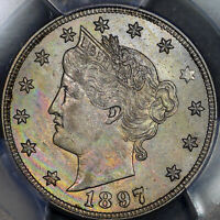 1897 LIBERTY HEAD V NICKEL 5C PCGS MINT STATE 63 - COLORFUL RAINBOW TONING