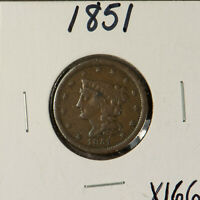 1851 1/2C BRAIDED HAIR COPPER HALF CENT    SOLID F  COIN  LO