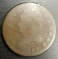 1812 CLASSIC HEAD LARGE CENT GOOD G CHOCOLATE BROWN ORIGINAL SURFACES