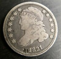 1831 CAPPED BUST DIME FULLLIBERTY FINE F OR  FINE NICKED NEAR DATE