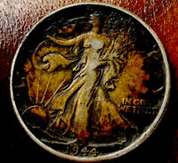 1944 TONED WALKING LIBERTY HALF DOLLAR IN BEAUTIFUL GOLDEN AMBER EXTRA FINE  CONDITION