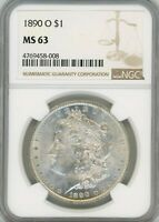 1890-O MORGAN SILVER $1, MINT STATE 63 - NGC