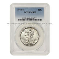 1944-S 50C SILVER WALKING LIBERTY PCGS MINT STATE 66 GEM CERTIFIED HALF DOLLAR FIFTY CENT