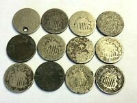 12 X SHIELD NICKELS 1800S US 5C SHIELD NICKEL CULL & DAMAGED