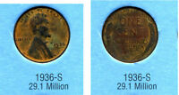 LINCOLN HEAD WHEAT CENT 1936 S AVERAGE CIRCULATED UNITED STATES 1 PENNY COIN B6