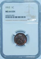1912 NGC MINT STATE 64BN LINCOLN WHEAT CENT