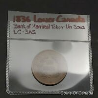 1836 LOWER CANADA BANK OF MONTREAL UN SOUS LC 3A5    COINSOF
