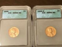 1958 LINCOLN CENT ICG GRADED MINT STATE 65 RED AND 1958-D ICG GRADED MINT STATE 63 RED