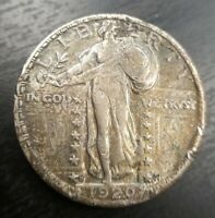 1920 D STANDING LIBERTY QUARTER ABOUT UNCIRCULATED DETAILS TONED DAMAGED