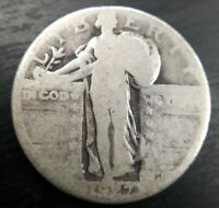 1927-D STANDING LIBERTY QUARTER ABOUT GOOD AG OR GOOD G ORIGINAL SILVER COIN