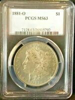 1881-O PCGS MINT STATE 63 MORGAN DOLLAR