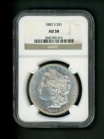 1883-S US MORGAN SILVER DOLLAR $1.00 $1 NGC AU 58 ABOUT UNC EXCEPTIONAL GEM