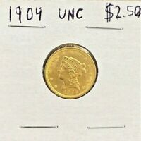 1904 LIBERTY HEAD $2.50 DOLLAR GOLD COIN UNCIRCULATED