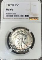 COLORFUL  TONED 1947-D MINT STATE 66 SILVER WALKING LIBERTY - NGC