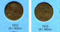 LINCOLN HEAD WHEAT CENT 1915 P AVERAGE CIRCULATED UNITED STATES 1 PENNY COIN B6