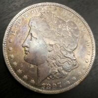 1897 O AU TONED BETTER DATE MORGAN SILVER DOLLAR, SHIPS FREE IN USA