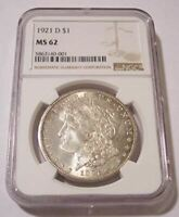1921 D MORGAN SILVER DOLLAR MINT STATE 62 NGC