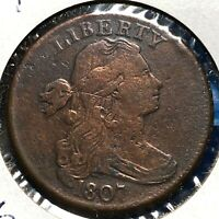 1807 1C DRAPED BUST CENT S-276, R-1, BLUNT 1 LARGE FRACTION, ROTATED DIE56305