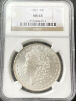 1881 P $1 MORGAN SILVER DOLLAR NGC MINT STATE 63, GREAT COIN WITH EYE APPEAL