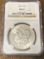 1887 P $1 MORGAN SILVER DOLLAR NGC MINT STATE 63, GREAT COIN WITH EYE APPEAL