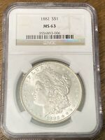 1882 P $1 MORGAN SILVER DOLLAR NGC MINT STATE 63, GREAT COIN WITH EYE APPEAL