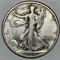 VF CONDITION 1945-S LIBERTY WALKING SILVER HALF DOLLAR OLD US COIN