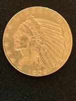 1909 D US $5 GOLD INDIAN HALF EAGLE  BEAUTIFUL