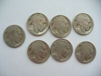 SET OF 7 BUFFALO- NICKELS USA COINS 6 NO DATE ONE 1937