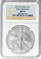 2014-W EARLY RELEASES BURNISHED SILVER EAGLE NGC MS70
