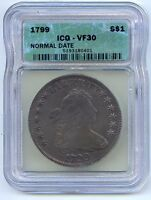 1799 NORMAL DATE $1 DRAPED BUST SILVER DOLLAR. ICG GRADED VF