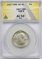 1917 TYPE 2 25C ANACS AU 53 FH FULL HEAD STANDING LIBERTY QUARTER