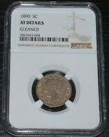 1890 5C LIBERTY V NICKEL GRADED BY NGC AS EXTRA FINE  DETAILS