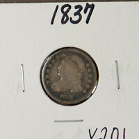 1837 CAPPED BUST 10C SILVER DIME  FULL RIM EXAMPLE LOTX201
