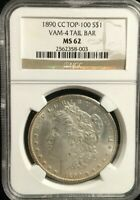 NGC 1890 CC MINT STATE 62 VAM-4 TAIL BAR MORGAN DOLLAR