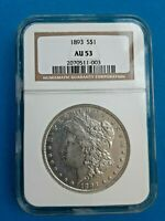 1893 $1 MORGAN DOLLAR NGC AU 53 ABOUT UNCIRCULATED BETTER DATE BLAST WHITE