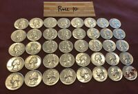 1960S BANK ROLL 40 WASHINGTON SILVER QUARTERS   MUST SEE   A